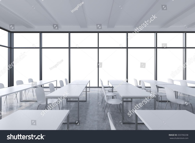 Modern White Classroom ~ Modern panoramic classroom white copy space stock