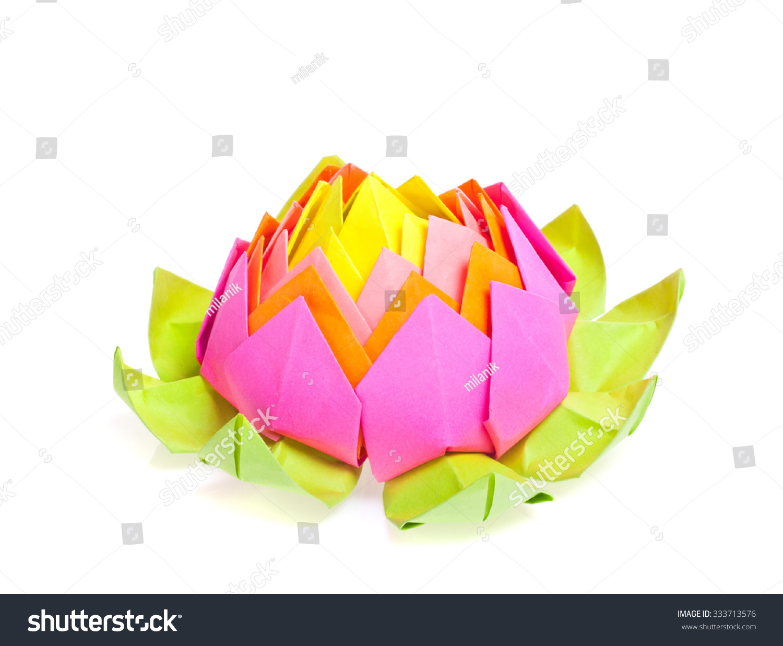 Figure Origami Lotus Flower Isolated White Stock Photo 333713576
