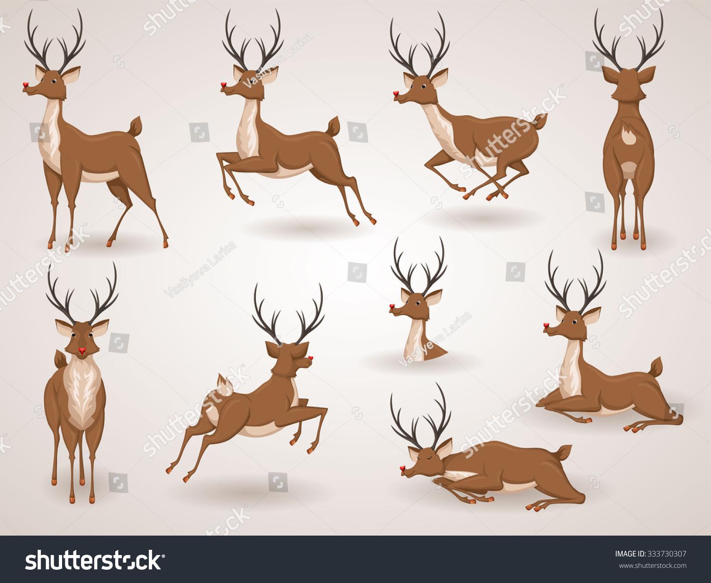 Reindeer Christmas Icon Set Moving Deer Stock Vector ...