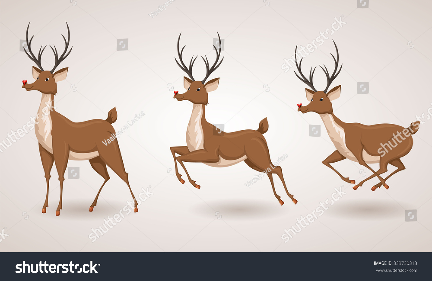 Reindeer Christmas Icon Set. Moving Deer Collection ...