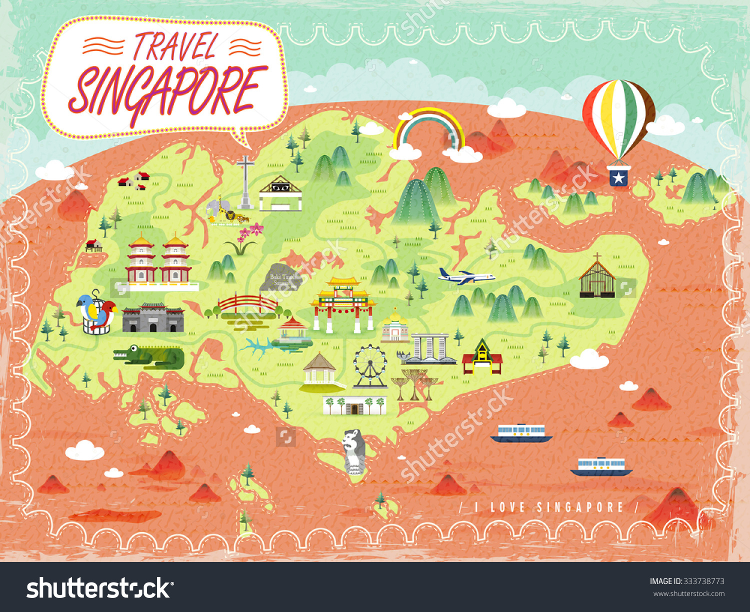 Singapore Travel Map Lovely Attractions Flat Illustration – Singapore Tourist Map
