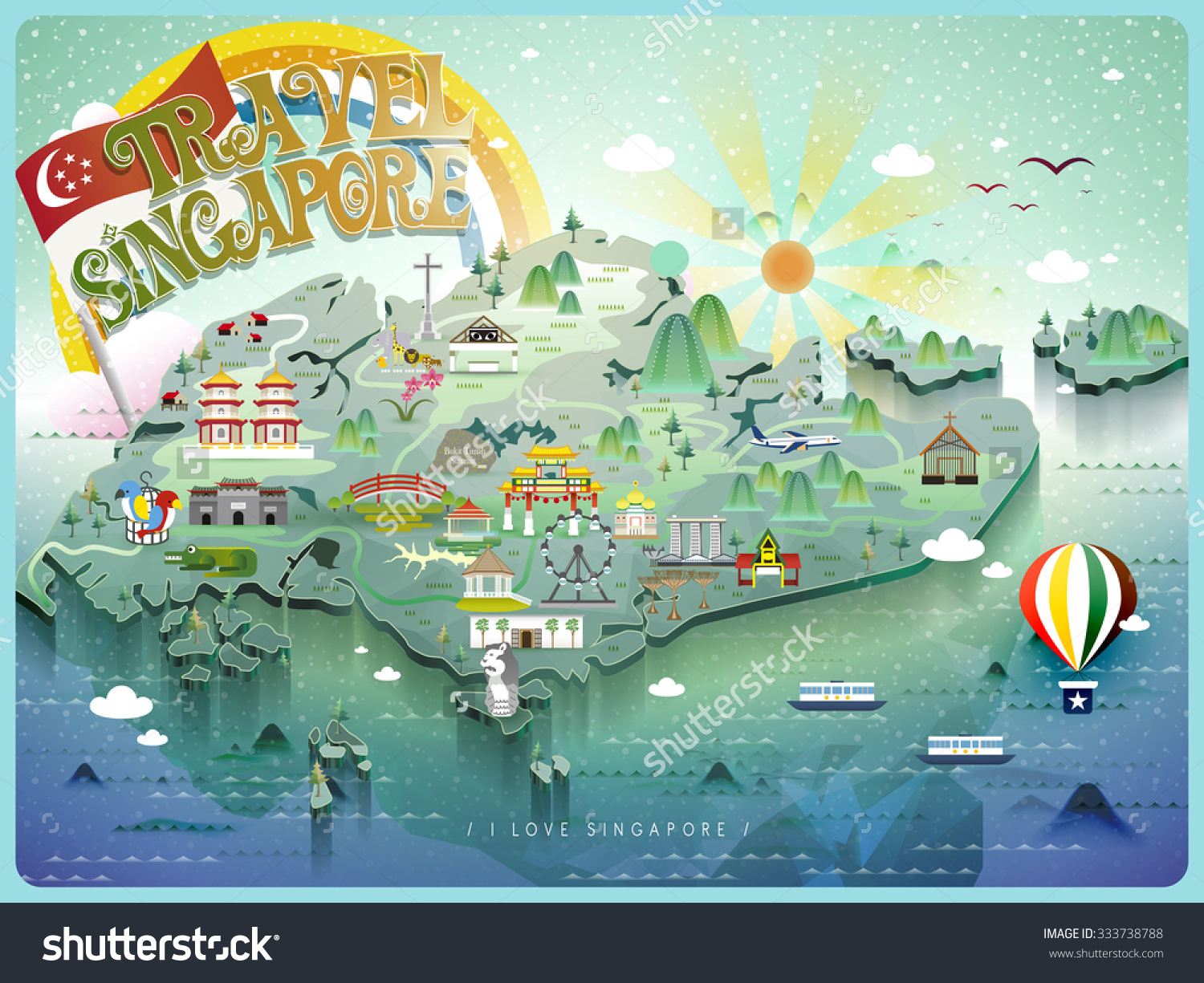 Attractive Singapore Travel Map Colorful Attractions – Singapore Tourist Attractions Map