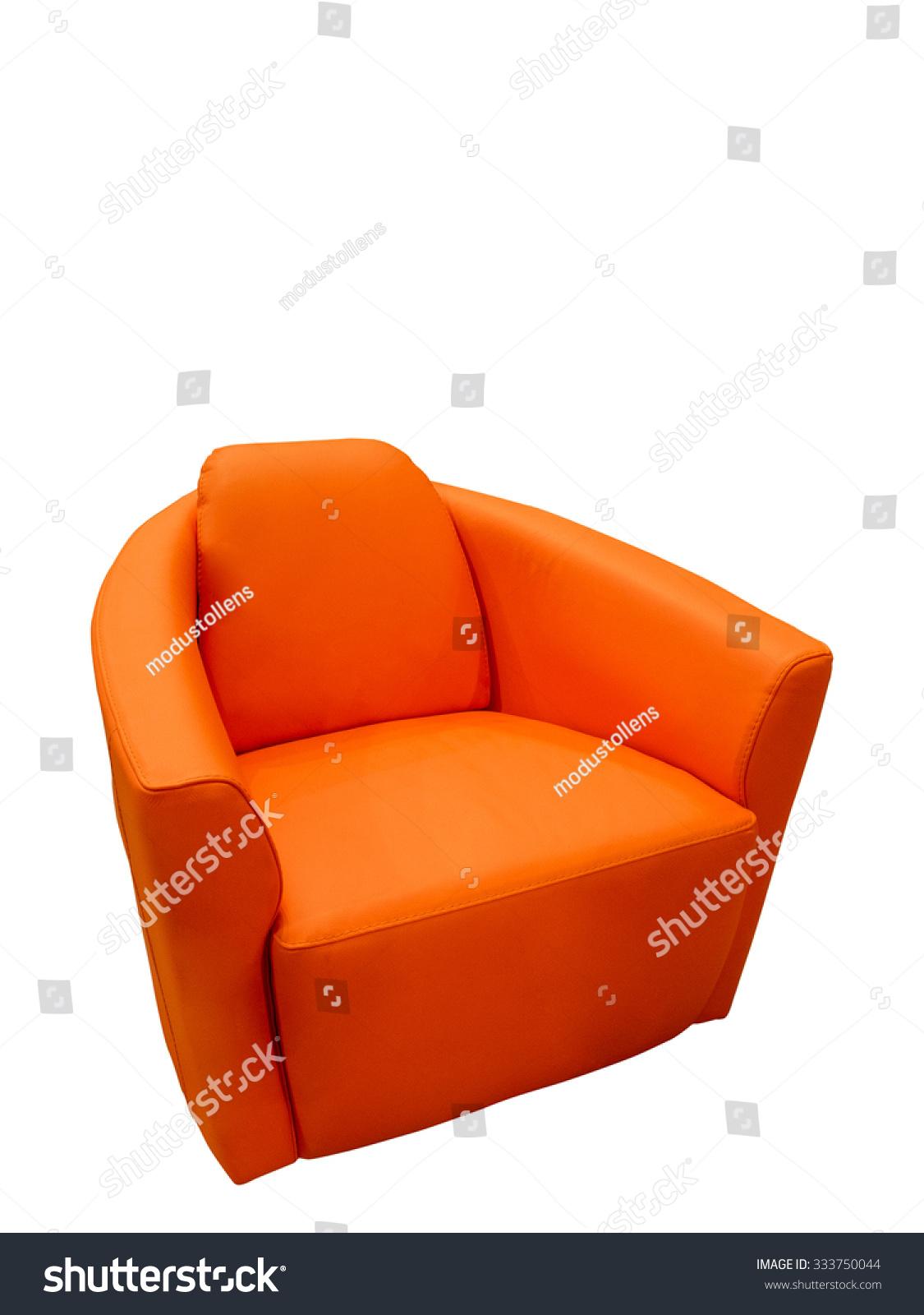 Terrific Modern Orange Leather Armchair Isolated On Stock Photo Edit Machost Co Dining Chair Design Ideas Machostcouk