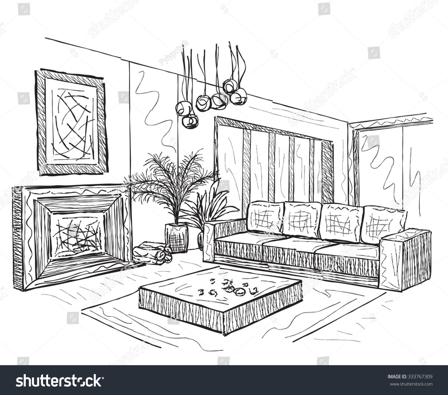 Room Interior Sketch. Hand Drawn Furniture In Living Room