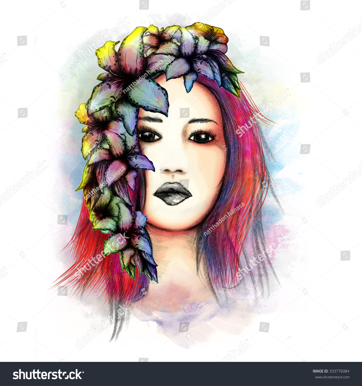 The Beautiful Woman And Flower With White Background Ez Canvas
