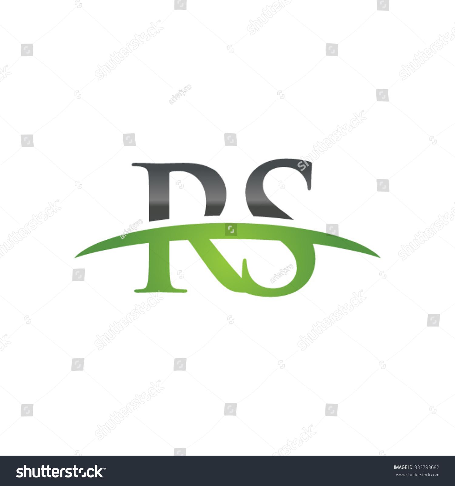 rs initial company green swoosh logo stock vector Baseball Swoosh Vector Vector Swirl