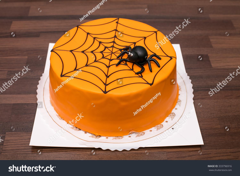 Strange Orange Childrens Birthday Cake Black Spider Stock Photo Edit Now Funny Birthday Cards Online Aeocydamsfinfo