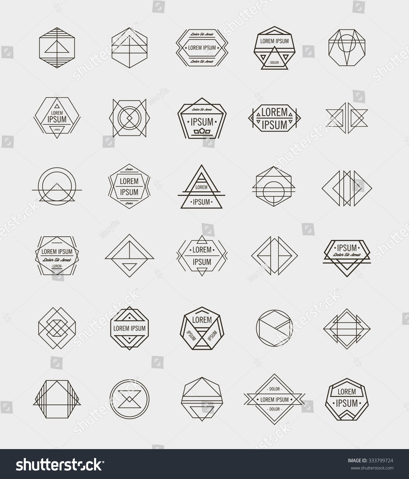 set retro line abstract hipster monochrome stock vector royalty