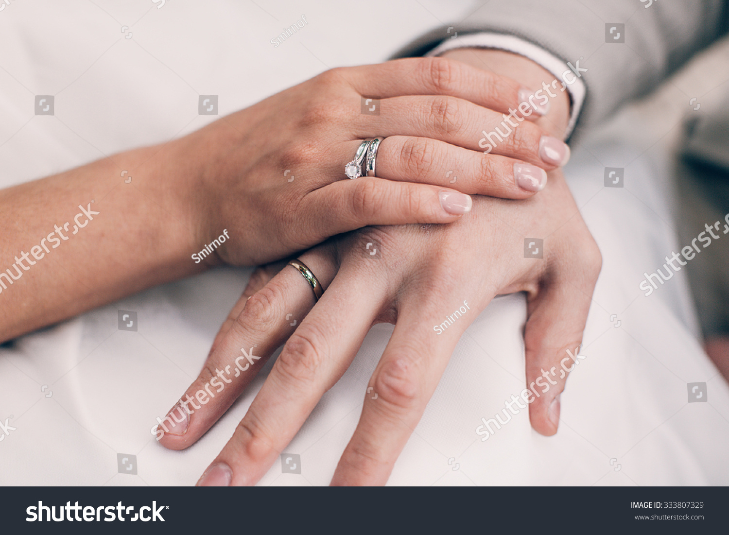 Bride Grooms Hands Wedding Engagement Rings Stock Photo (Edit Now ...