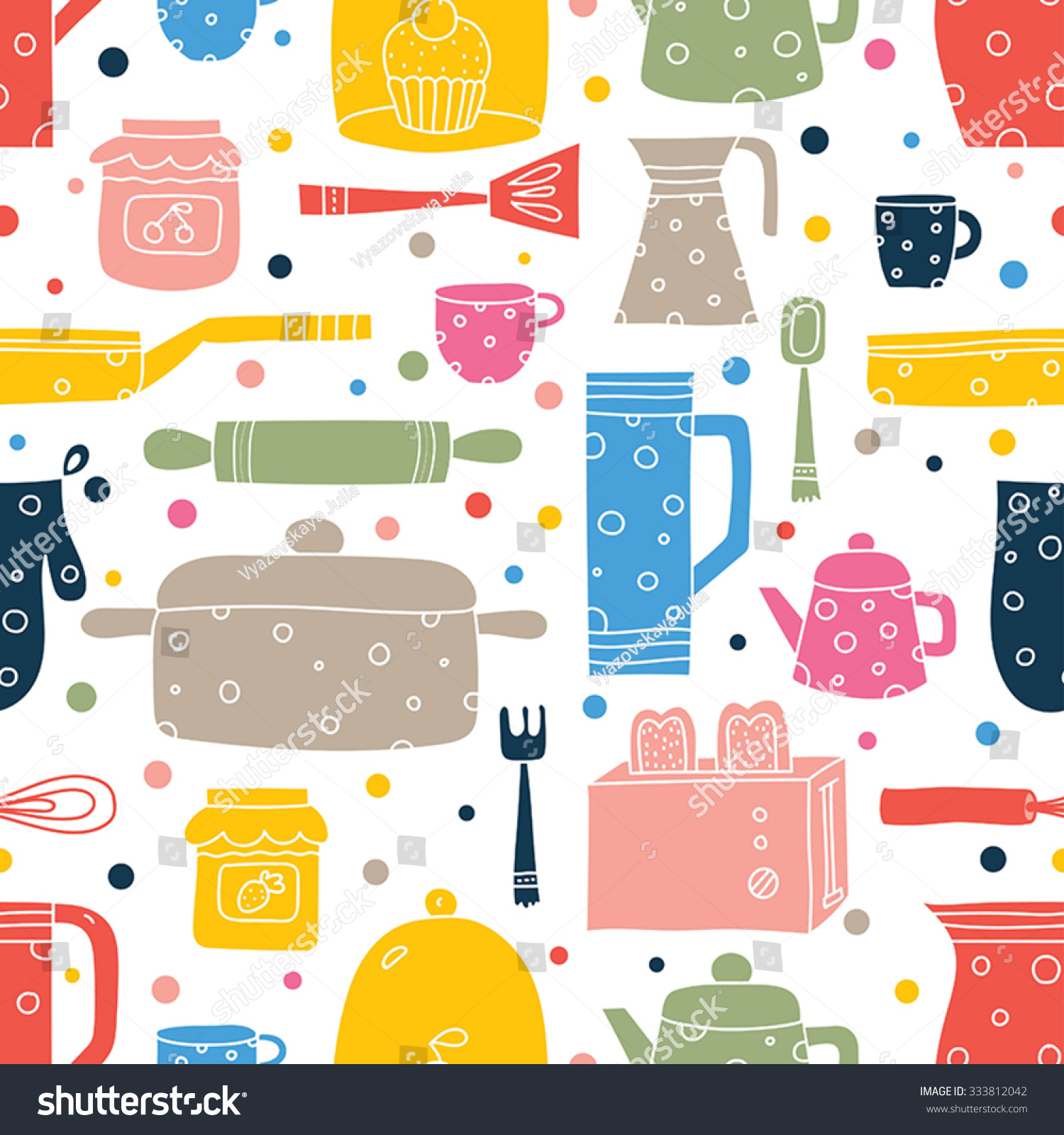 Cute Kitchen Cute Kitchen Vector Seamless Patternseamless Pattern Stock Vector