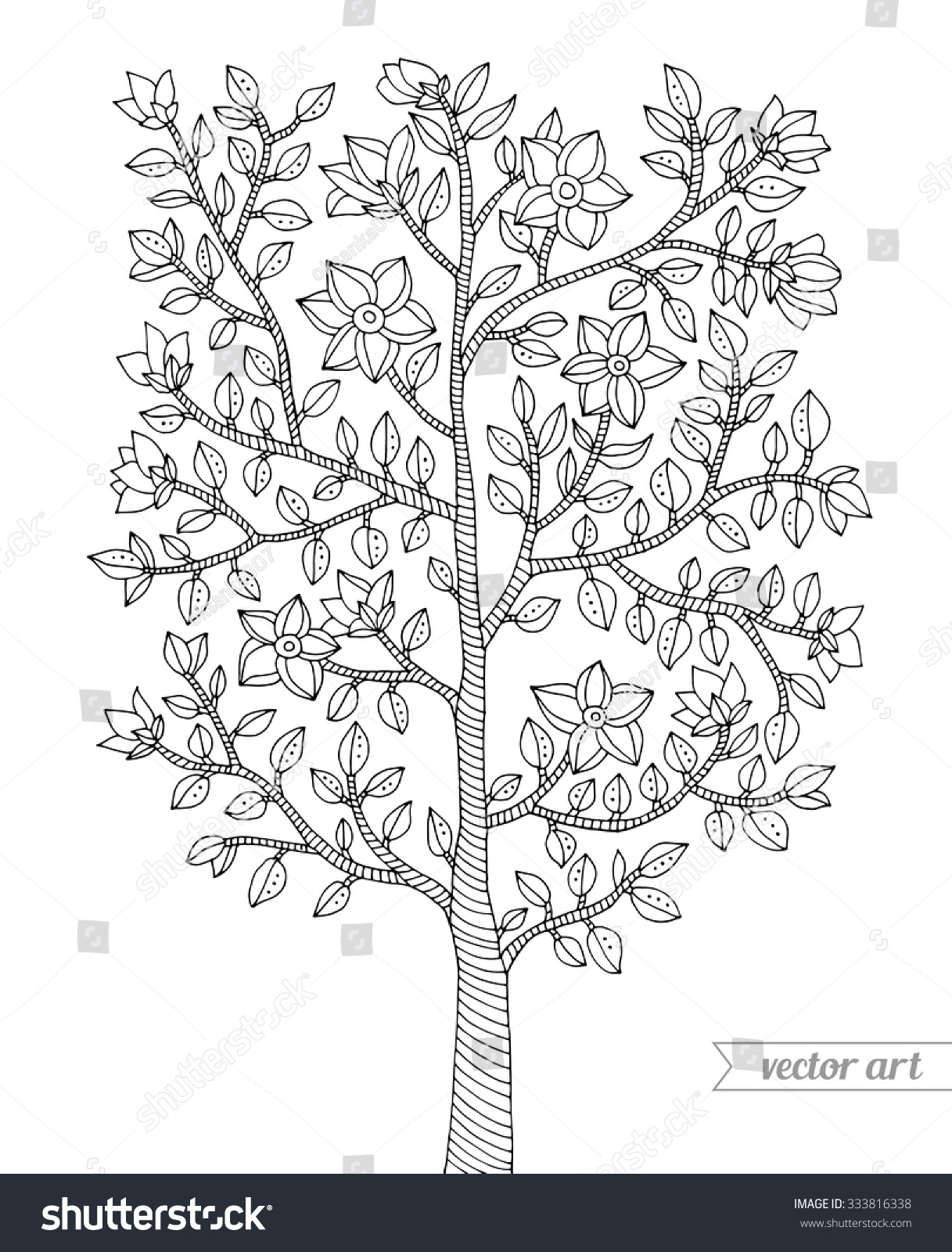 Forest Tree Bush Flowers Blossom Branch Stock Vector