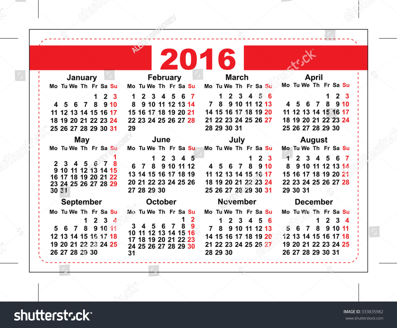 pocket schedule template - 2016 pocket calendar template grid horizontal stock