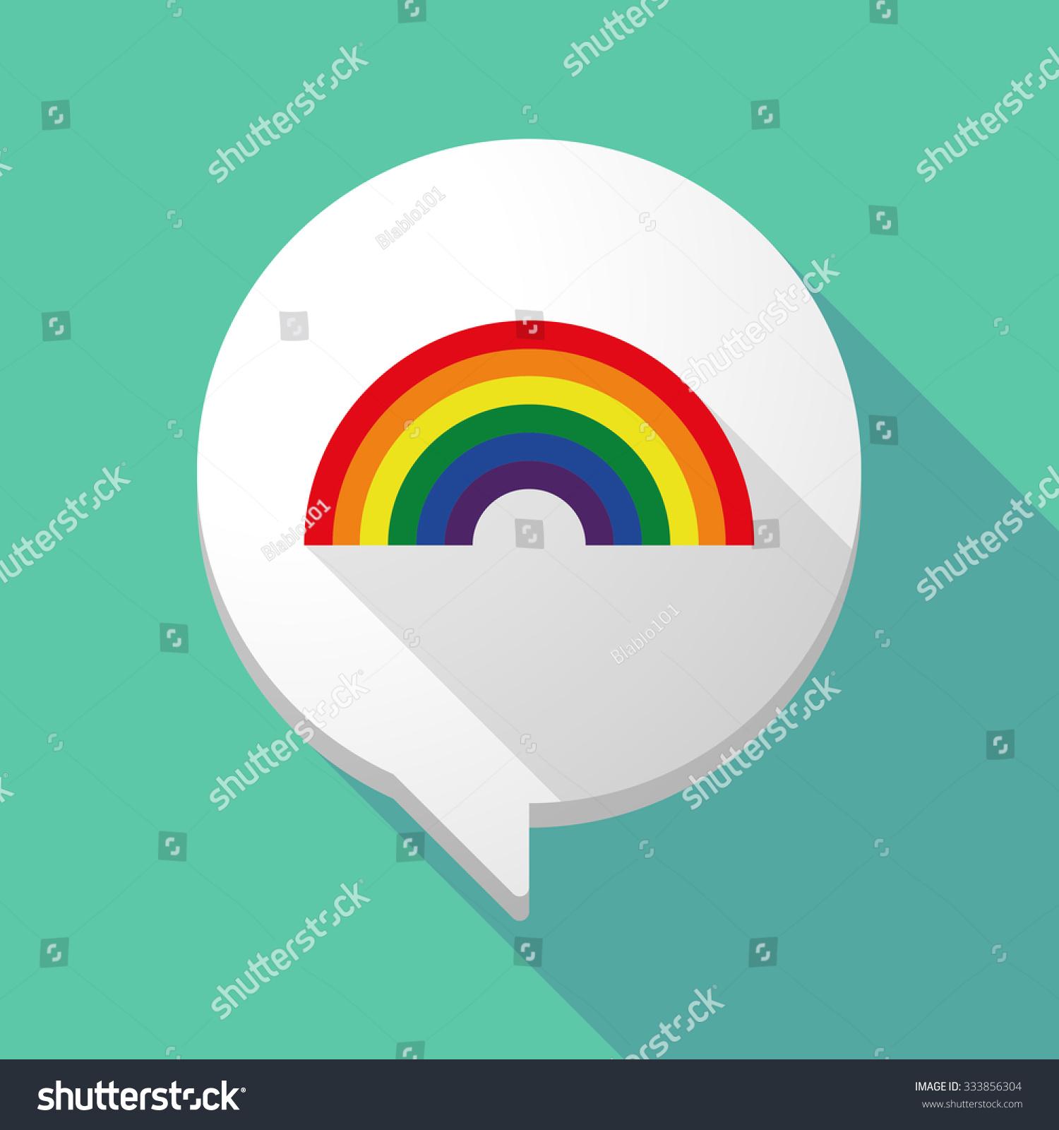 illistration long shadow comic balloon rainbow stock vector