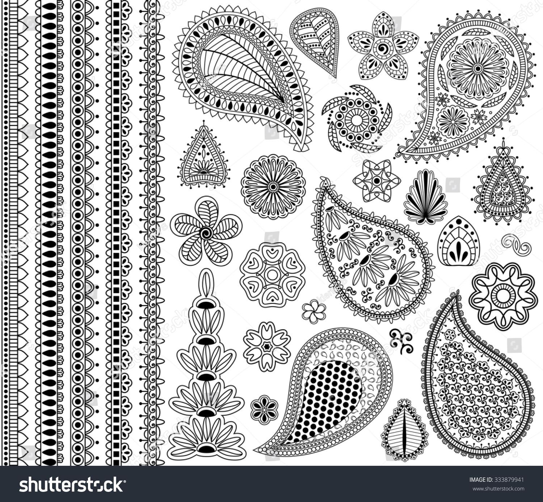 vintage floral doodle elements flowers paislies stock illustration