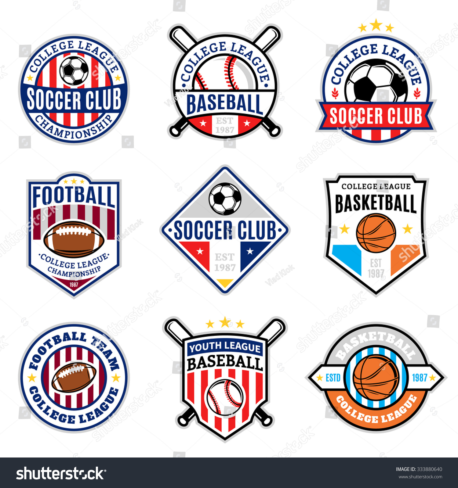 set sport team logo templates soccer stock vector 333880640 shutterstock. Black Bedroom Furniture Sets. Home Design Ideas