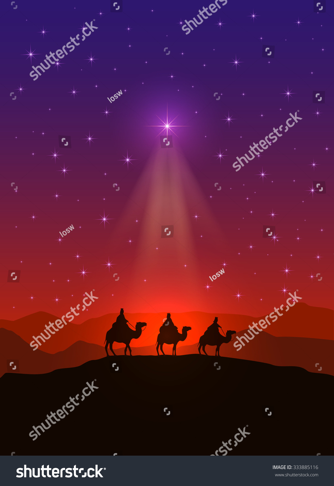 Christian Background Christmas Star Three Wise Stock ...