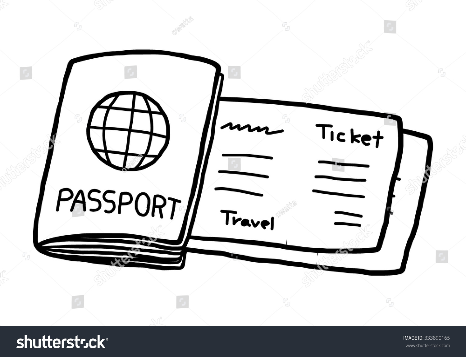 passport ticket cartoon vector illustration black stock vector passport and ticket cartoon vector and illustration black and white hand drawn