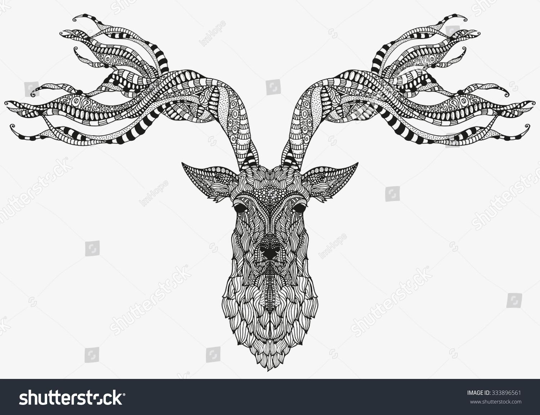 Artistically Deer Head Zentangle Patterns Sketch Stock ...