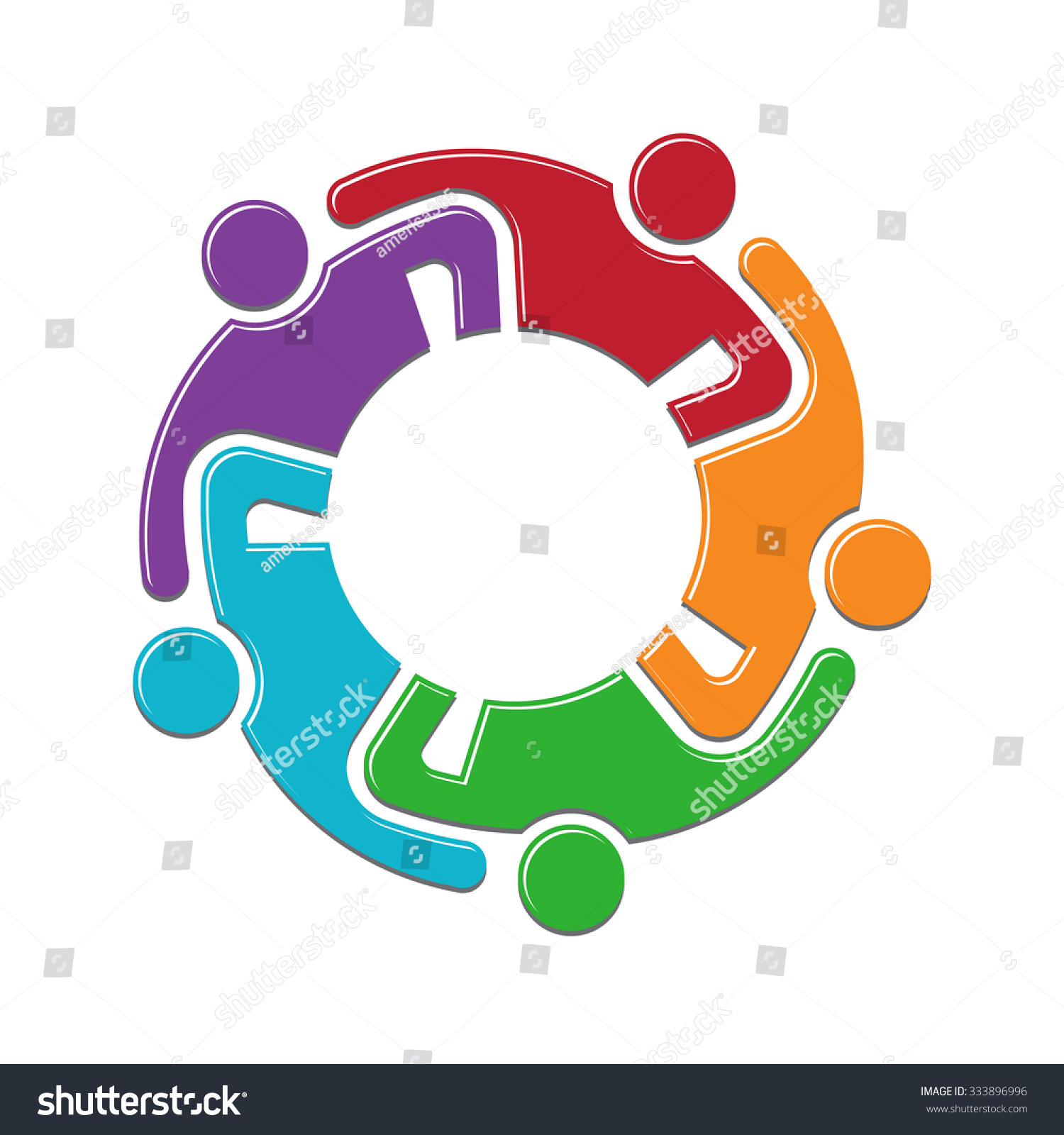 Teamwork Group Persons In Reunion. Logo Design Stock Vector ...