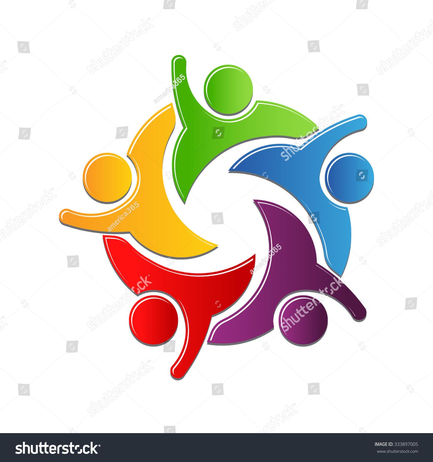 teamwork culture work circle logo design stock vector royalty free