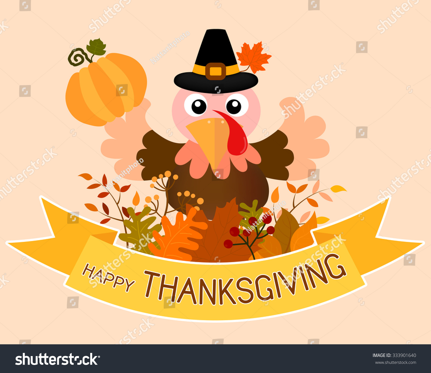 Vector happy thanksgiving card postcard banner stock vector vector of happy thanksgiving card postcard or banner design with lovely turkey hold a pumpkin kristyandbryce Choice Image