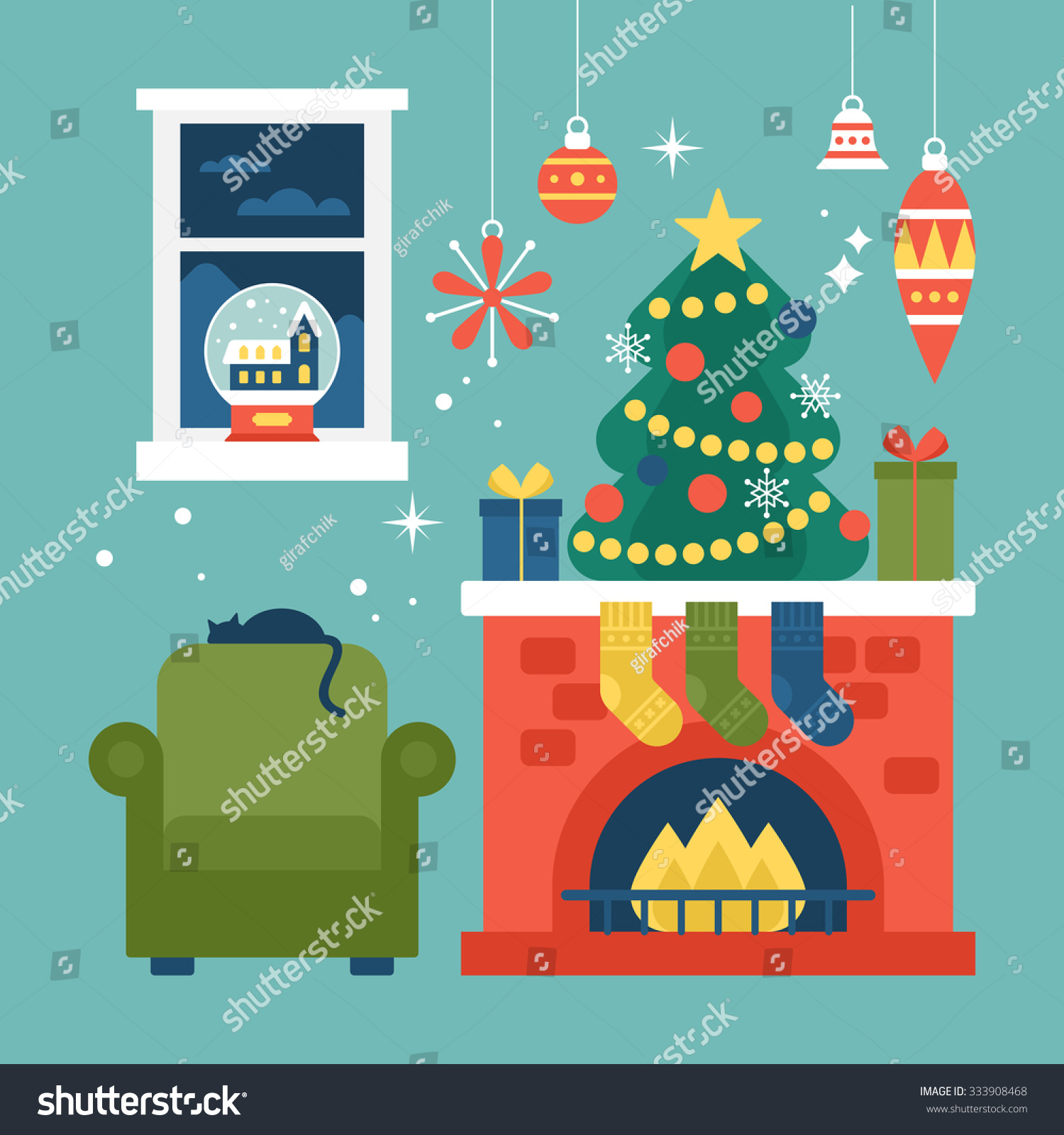Modern creative christmas greeting card design stock vector 333908468 shutterstock - Creative modern christmas tree designs for christmas celebration ...