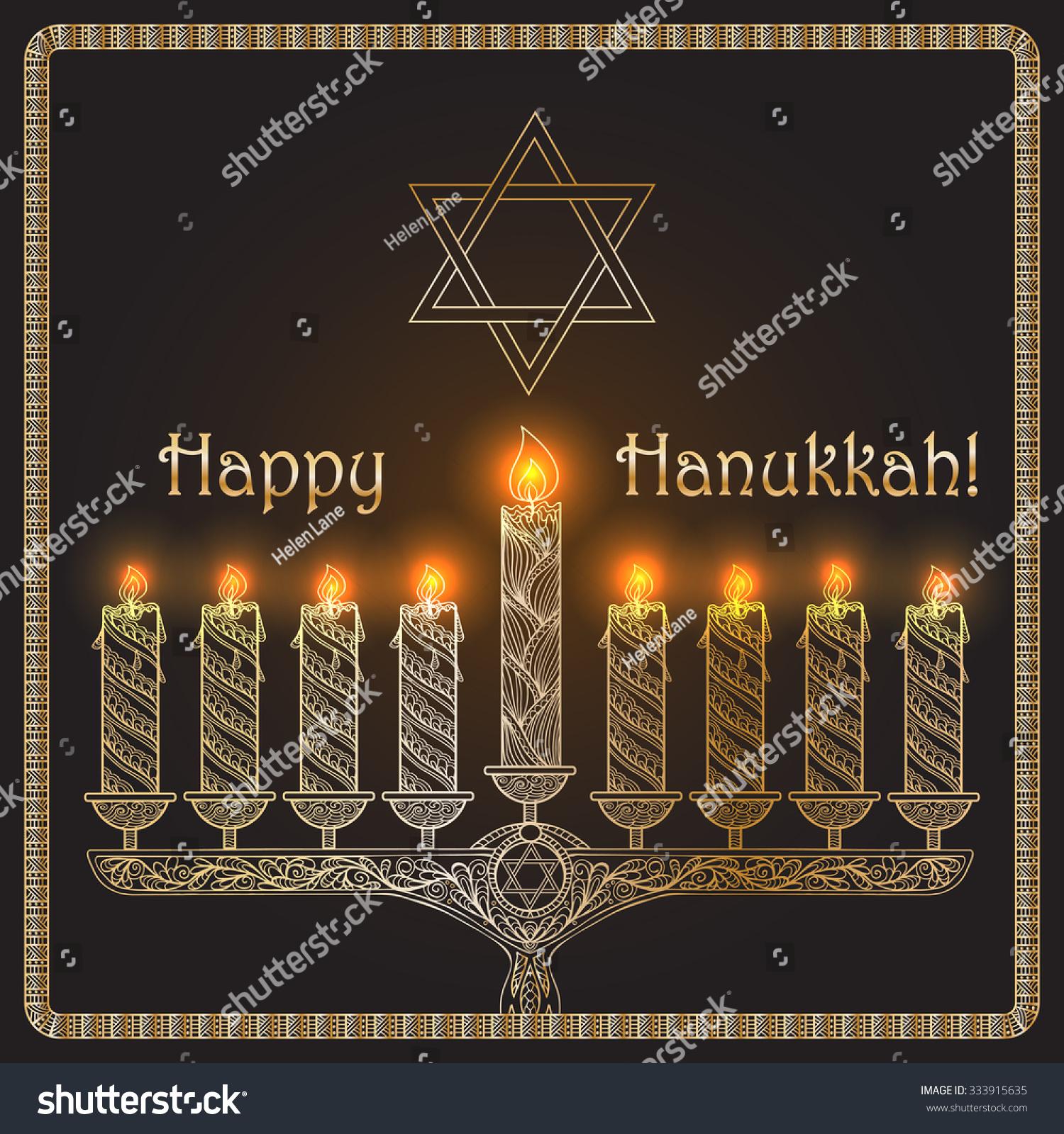 Background Famous Symbols Jewish Holiday Hanukkah Stock Vector