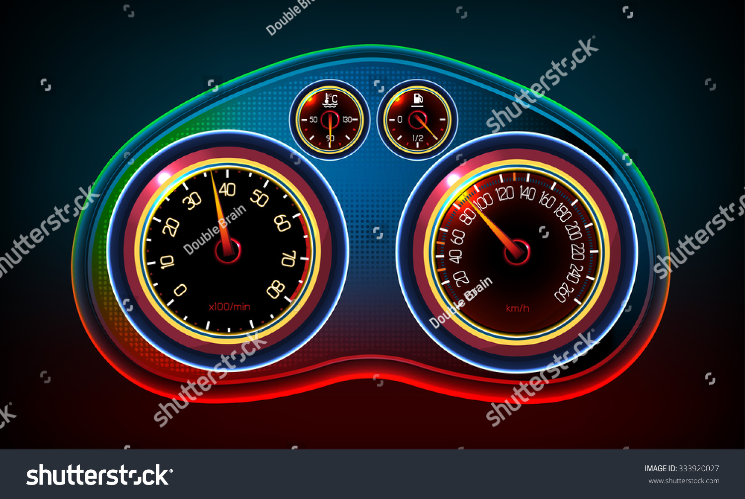Vector Editable Illustration Car Dash Panel Stock Vector - Car signs on dashboardcar dashboard signs speedometer tachometer fuel and temperature