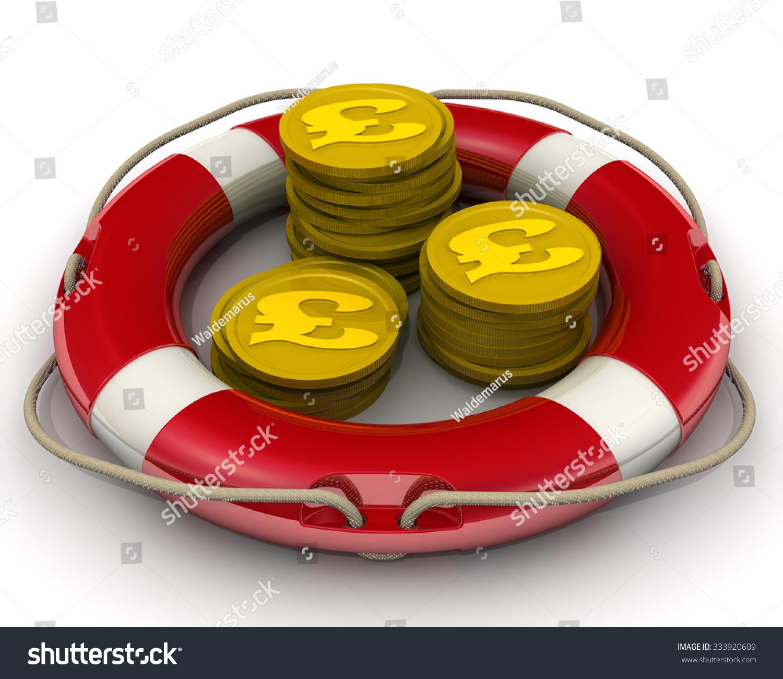 Gold Coins Symbol British Pound Sterling Stock Illustration Lifebuoy Concept