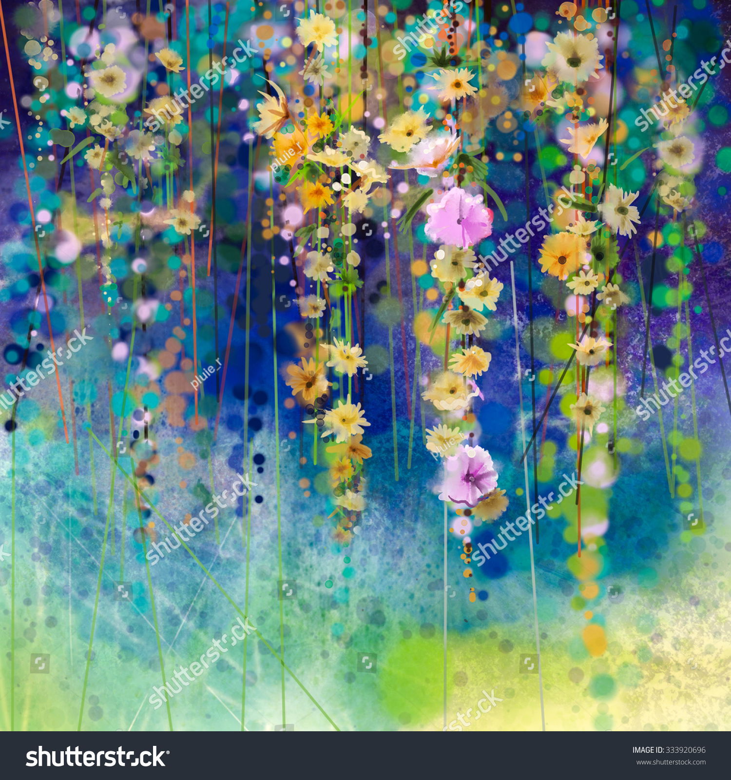 Royalty free abstract floral watercolor painting 333920696 stock hand painted white yellow and red flowers in soft color on blue green color background ivy flowers in tree park spring flower seasonal nature background izmirmasajfo