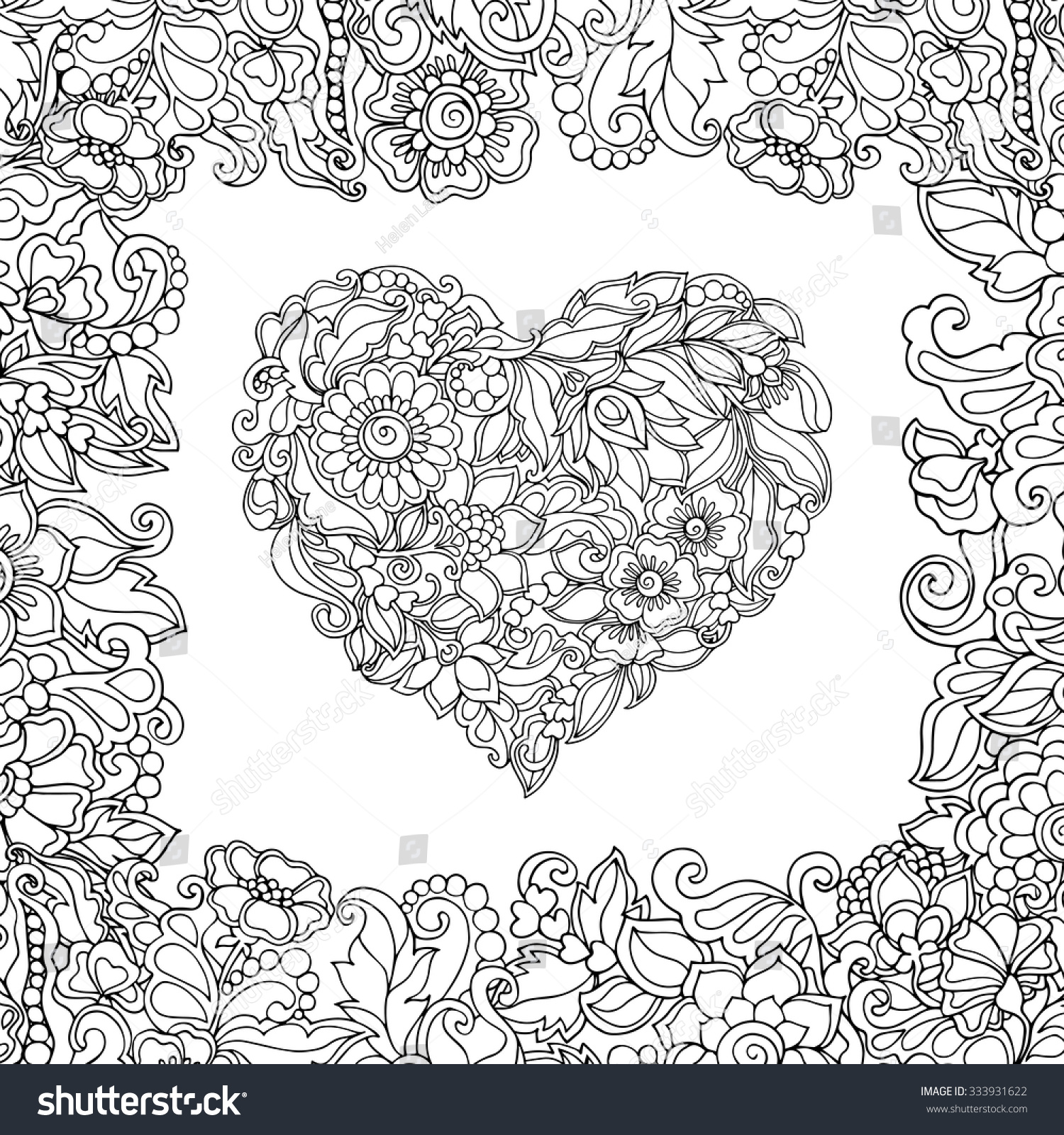 coloring book for adult and older children coloring page with vintage flowers pattern heart - Coloring Pages Flowers Hearts