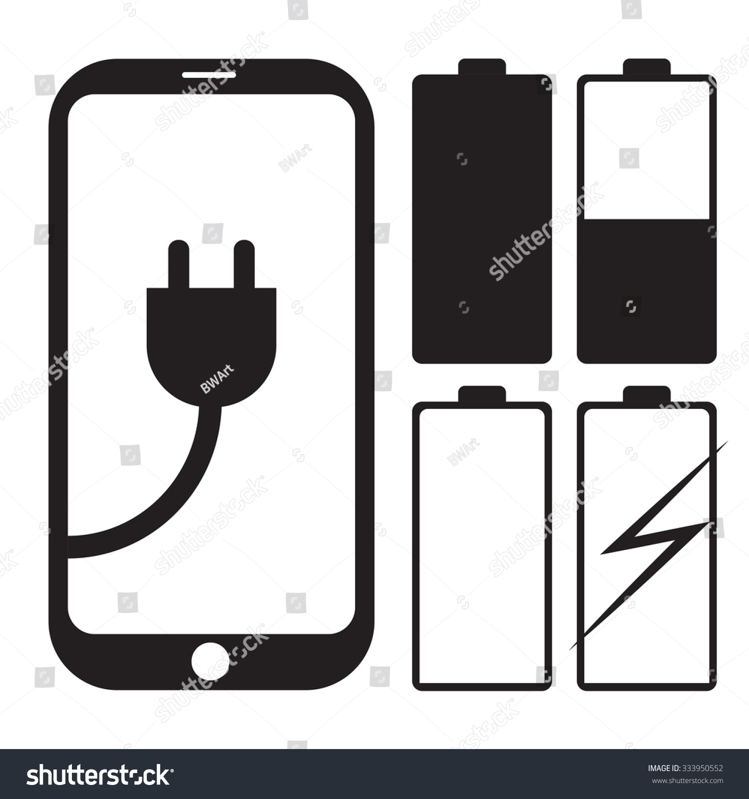Mobile Phone Icon Charger Battery Symbol Stock Vector Royalty Free