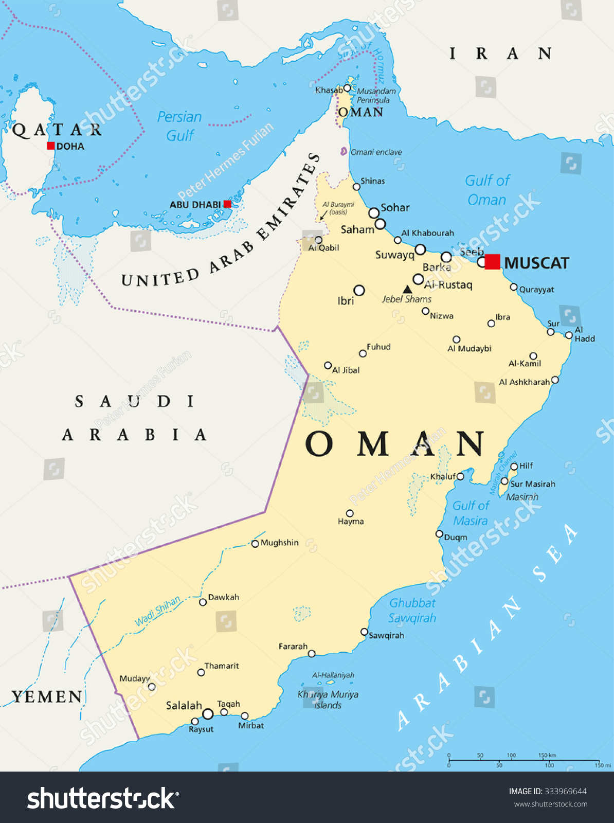 Oman Political Map Capital Muscat National Stock Vector (Royalty