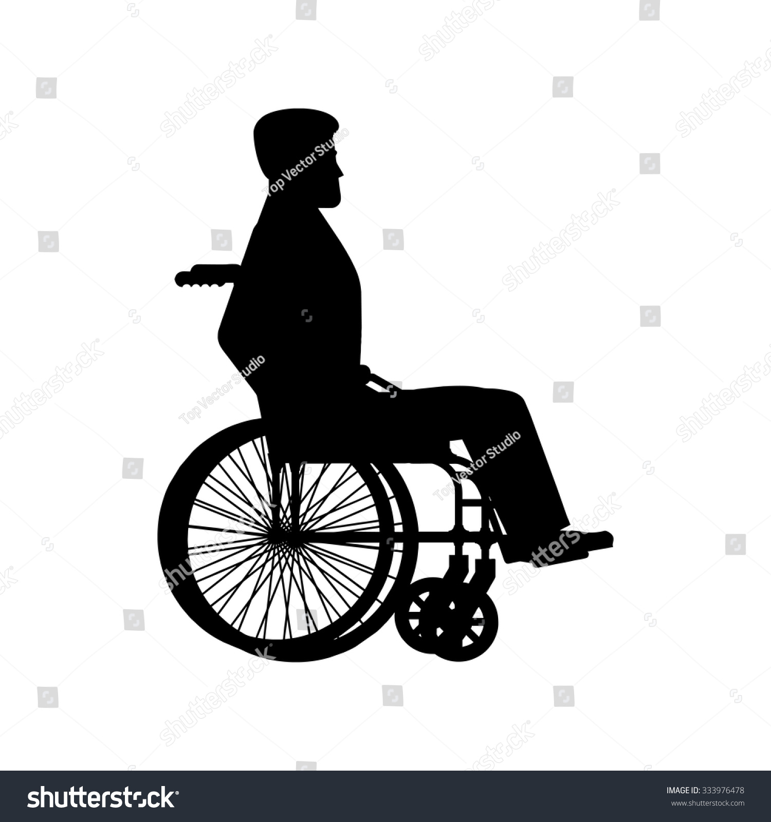 Disabled wheelchair silhouette man sits carriage stock Handicapped wheelchair