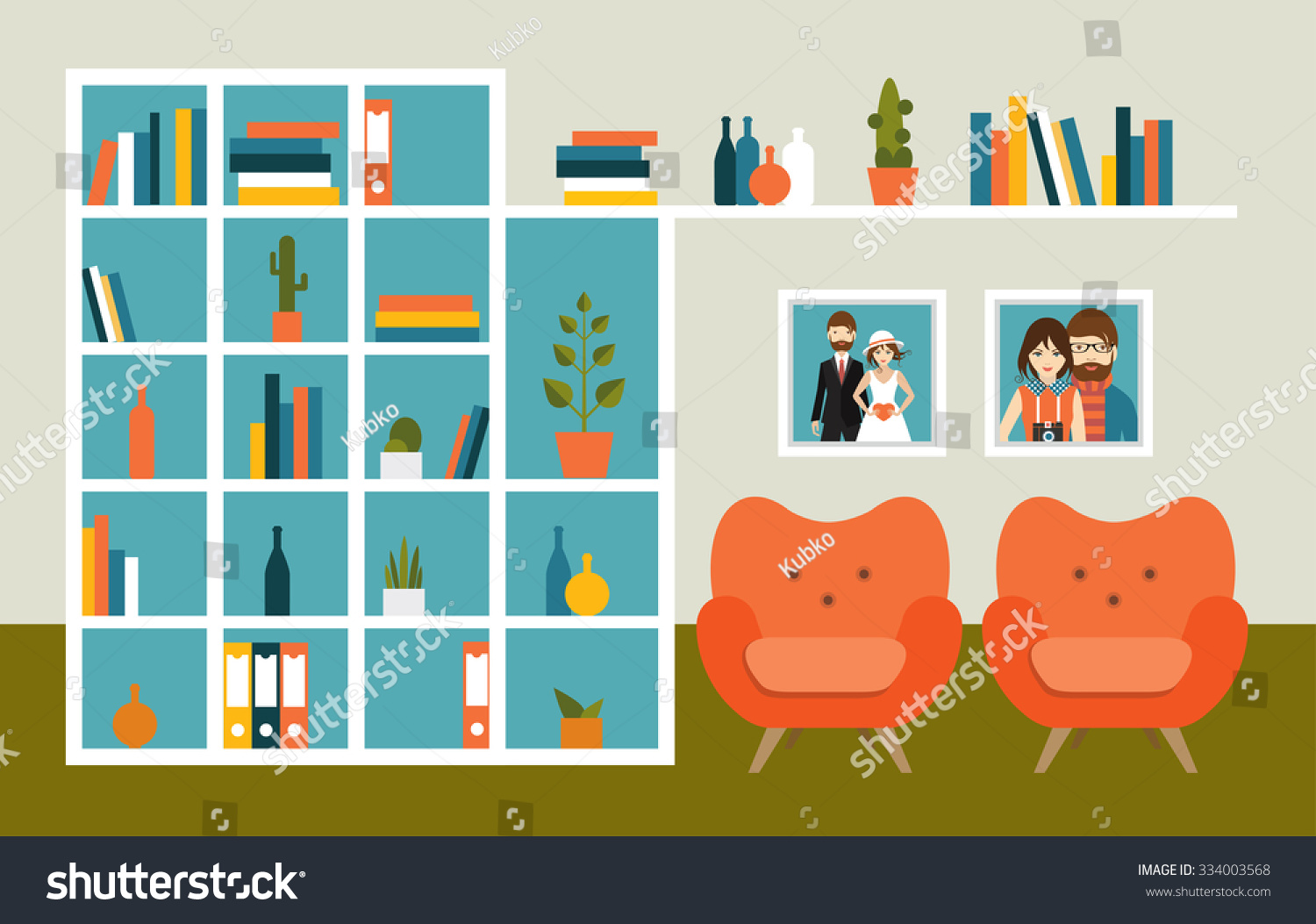 Living Room Wall With Orange Armchairs And Book Shelves
