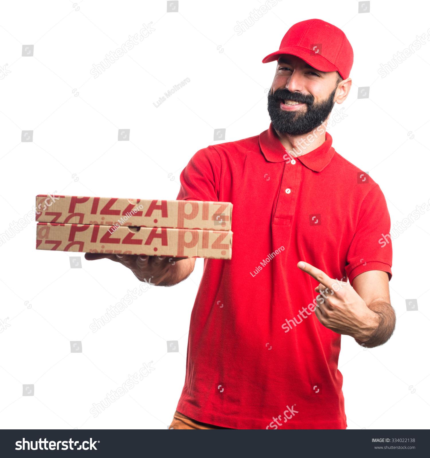 pizza delivery man stock photo 334022138 shutterstock. Black Bedroom Furniture Sets. Home Design Ideas