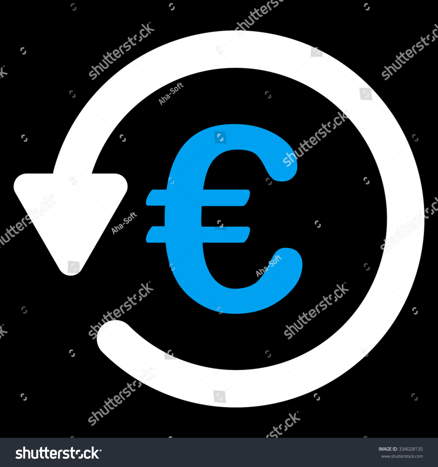 Euro Rebate glyph icon. Style is bicolor flat symbol, blue and white colors,