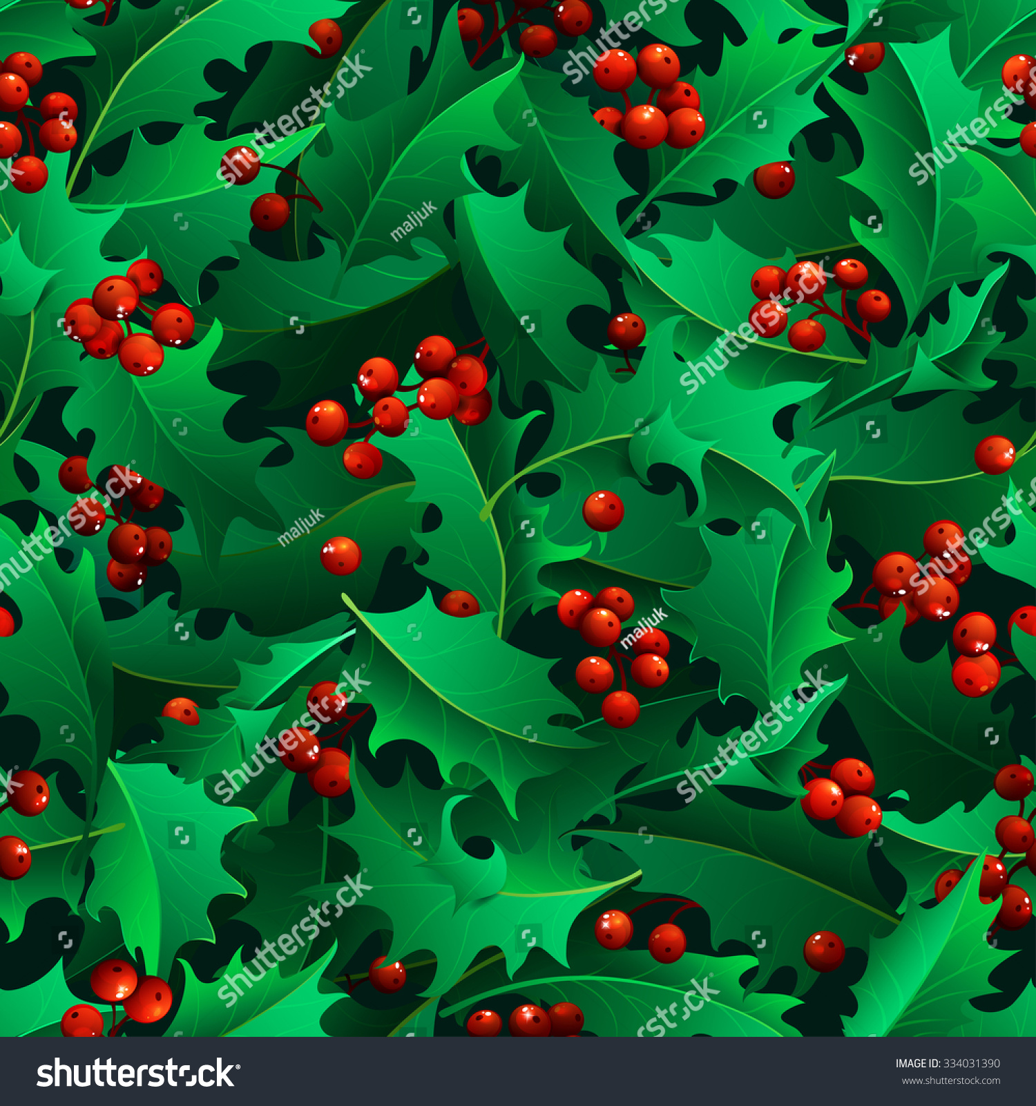 Why is holly a traditional christmas decoration - Christmas Holly Berries Seamless Pattern Traditional Christmas Decoration Boundless Background Can Be Used For