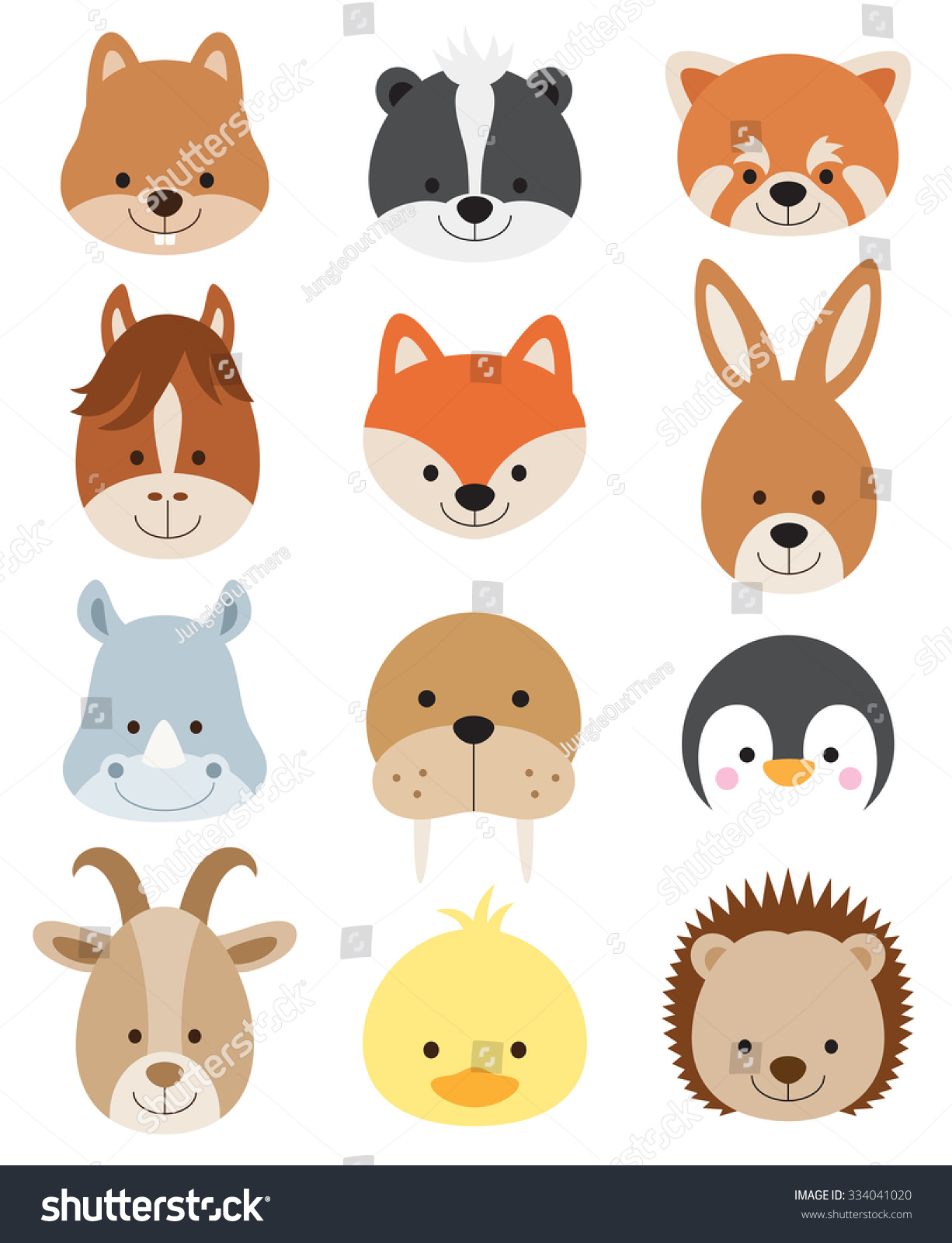 printable hedgehog puppets vector illustration of animal faces including squirrel 2770