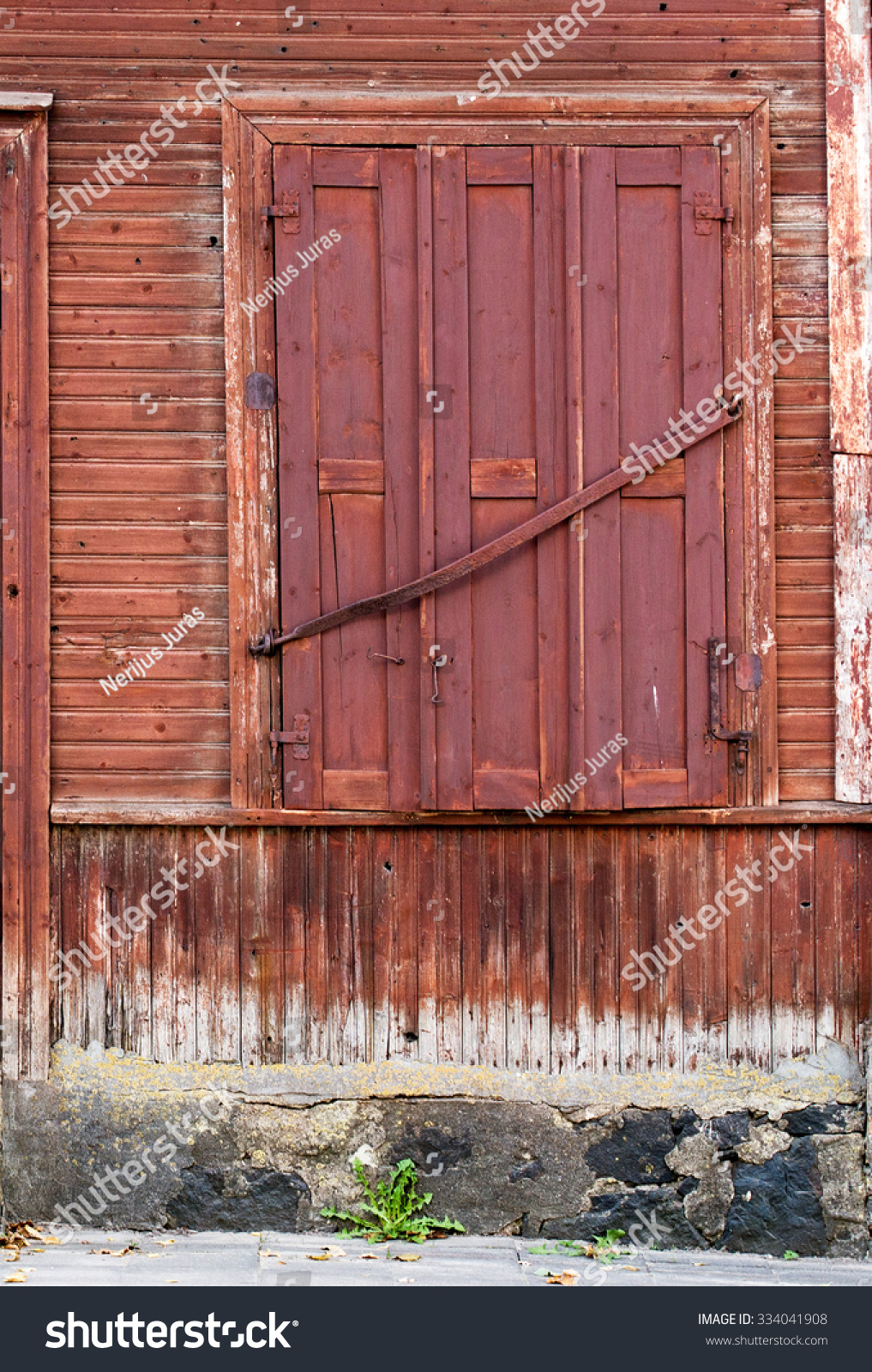Wood Shutters Closed : Window closed shutters wooden plank wallbackground stock