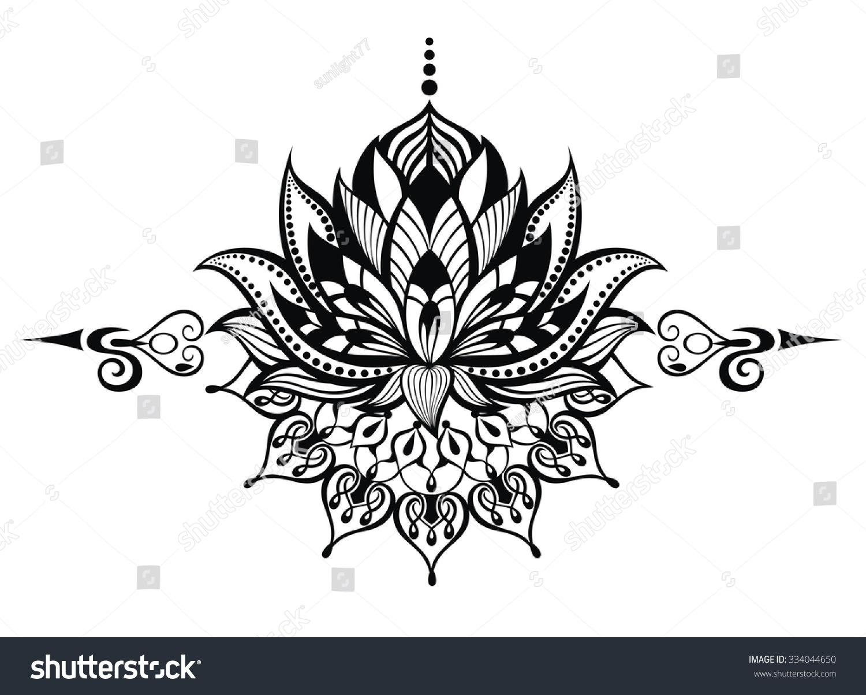Lotus Flowertattoo Stock Vector 334044650 Shutterstock