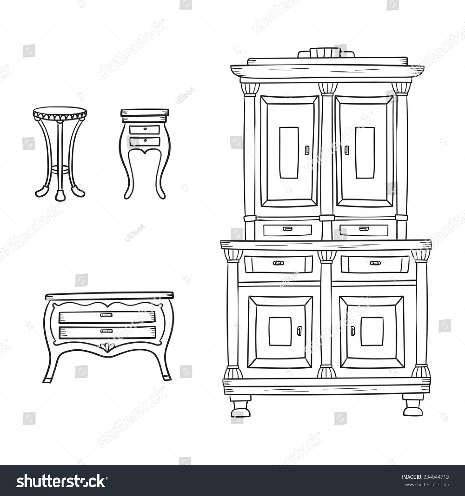 Antique chair drawing - Antique Furniture Set Closet Nightstand And Bureau Isolated On A White Background Vector