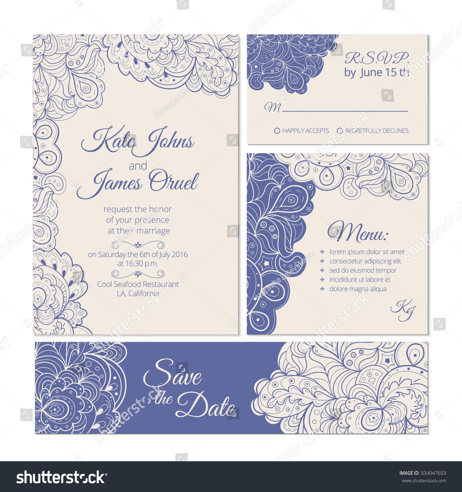 Elegant Wedding Set Vintage Cards Design Vector 334047653 – Winter Wedding Save the Date