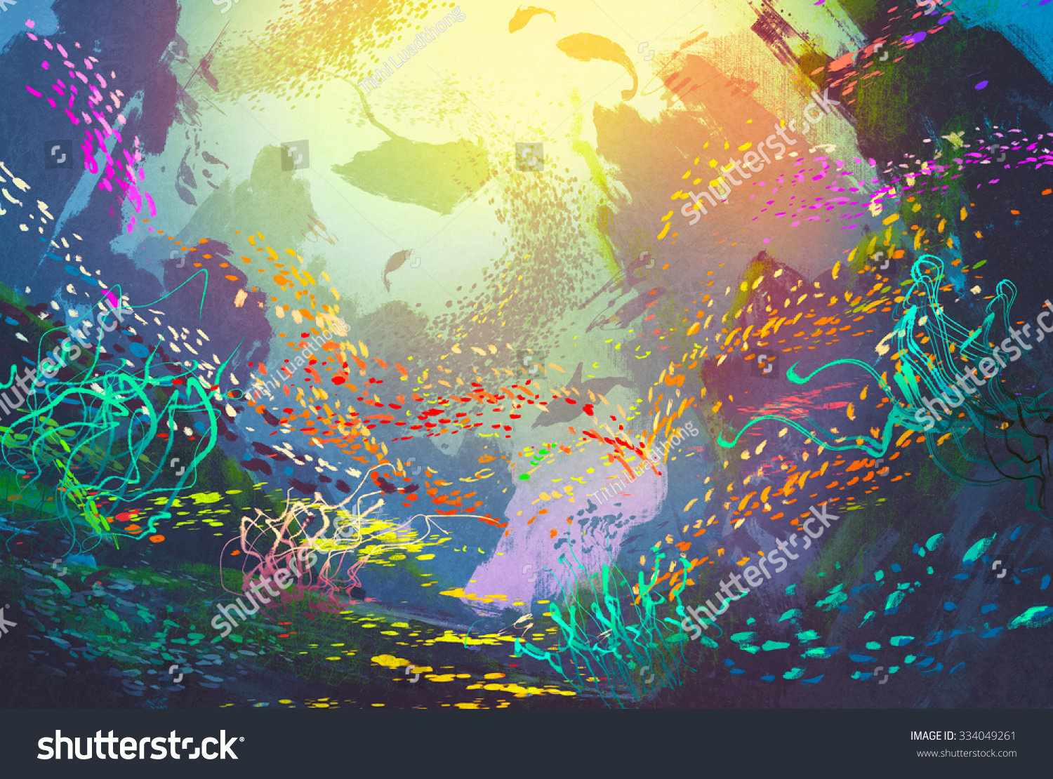 Underwater With Coral Reef And Colorful Fish,Illustration ...