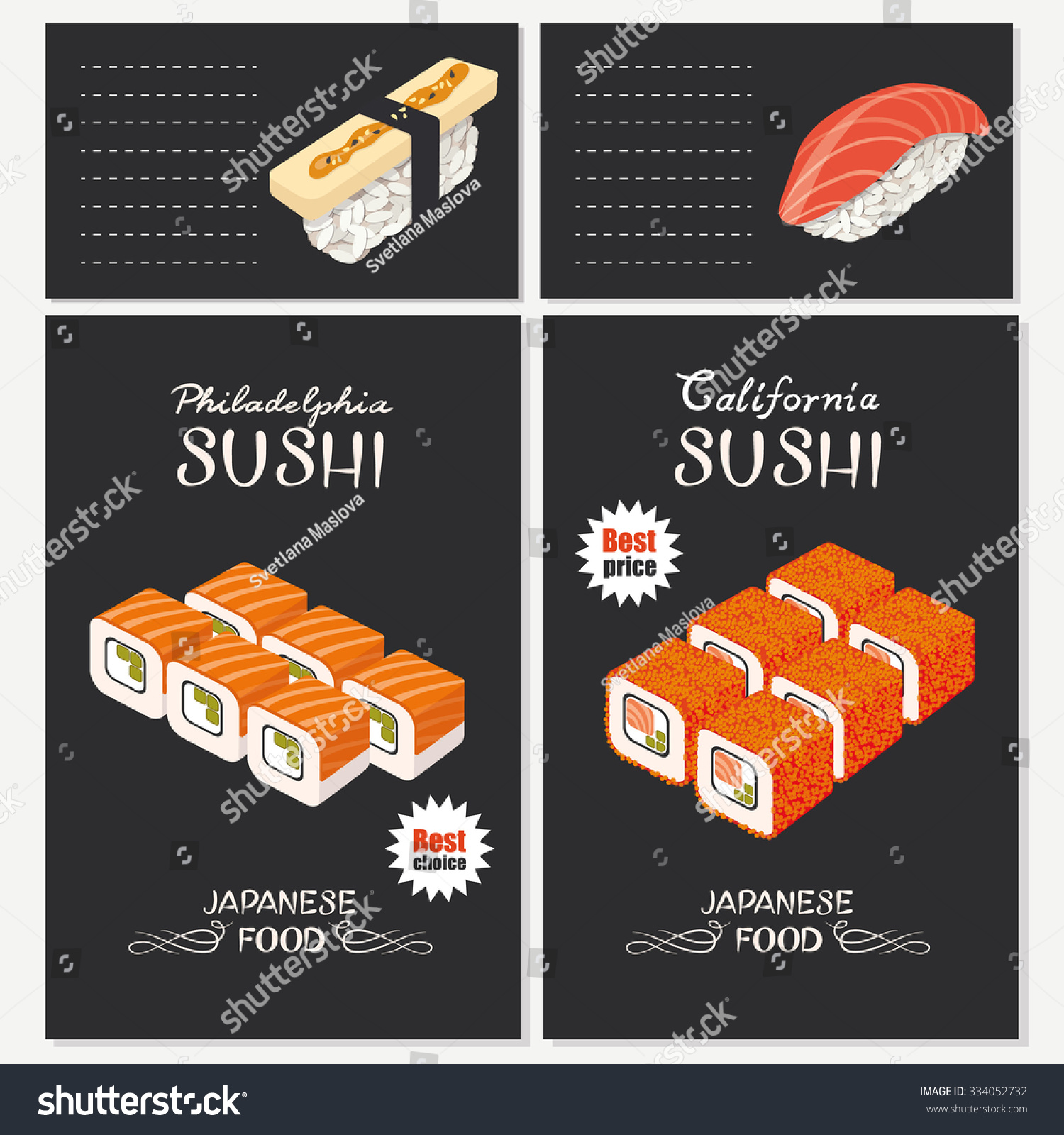 Sushi bar menu template vector sushi stock vector 334052732 sushi bar menu template vector sushi with salmon caviar and omelette philadelphia roll pronofoot35fo Choice Image
