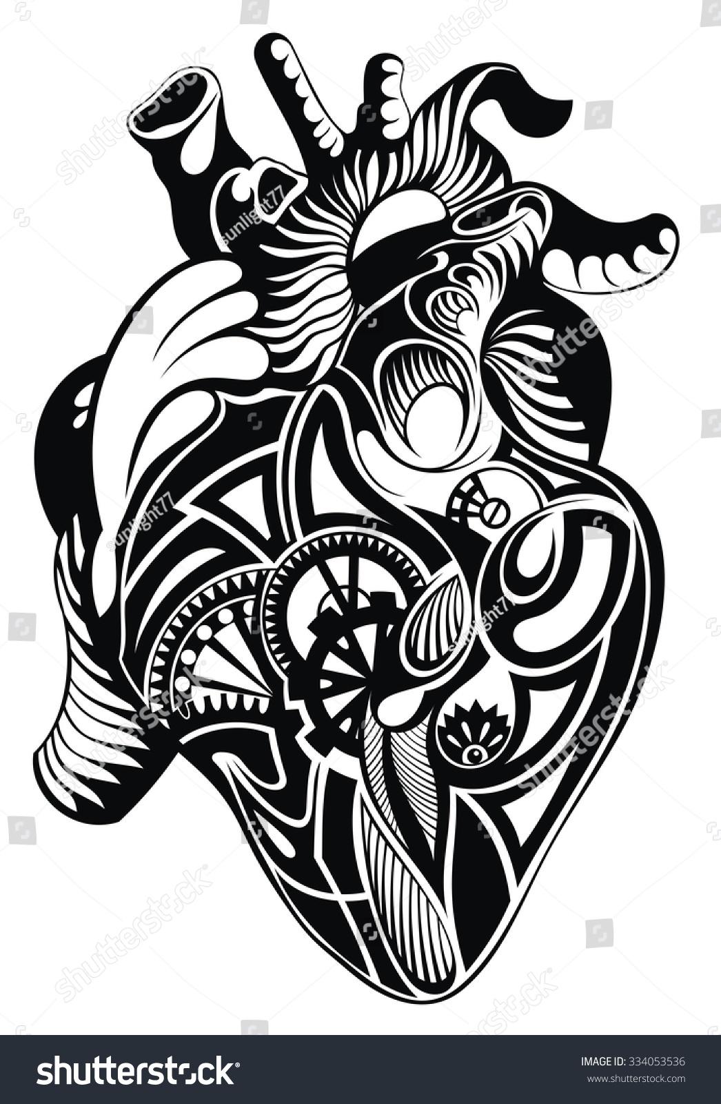 Human Heart Vector Heart Illustration Tattoo Stock Vector ...
