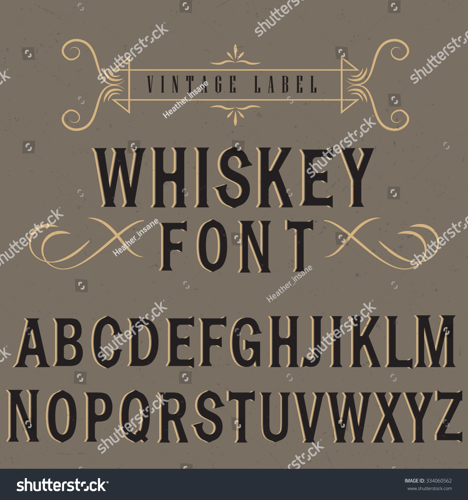 Text Decoration Italic: Whiskey Label Font Sample Label Design Stock Vector