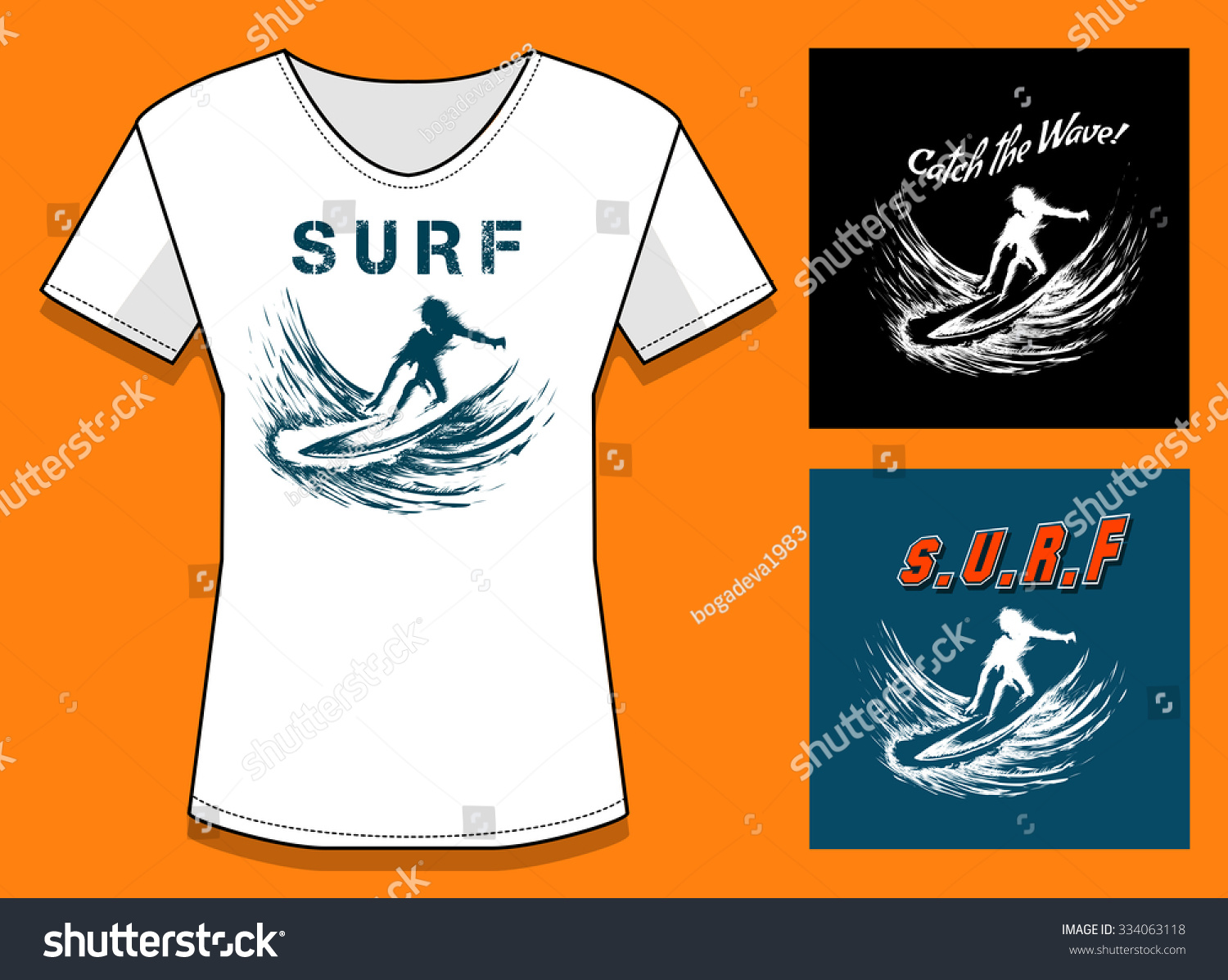 T Shirt Print In Three Color Variations Surfing Design With Samples Of Text