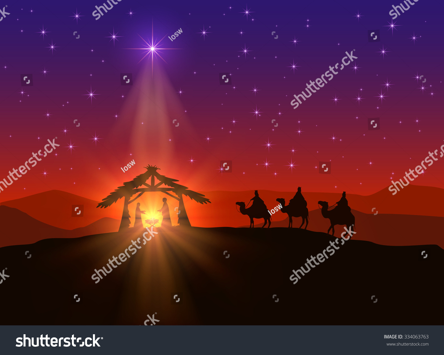 Christian Background With Christmas Star And Birth Of ...
