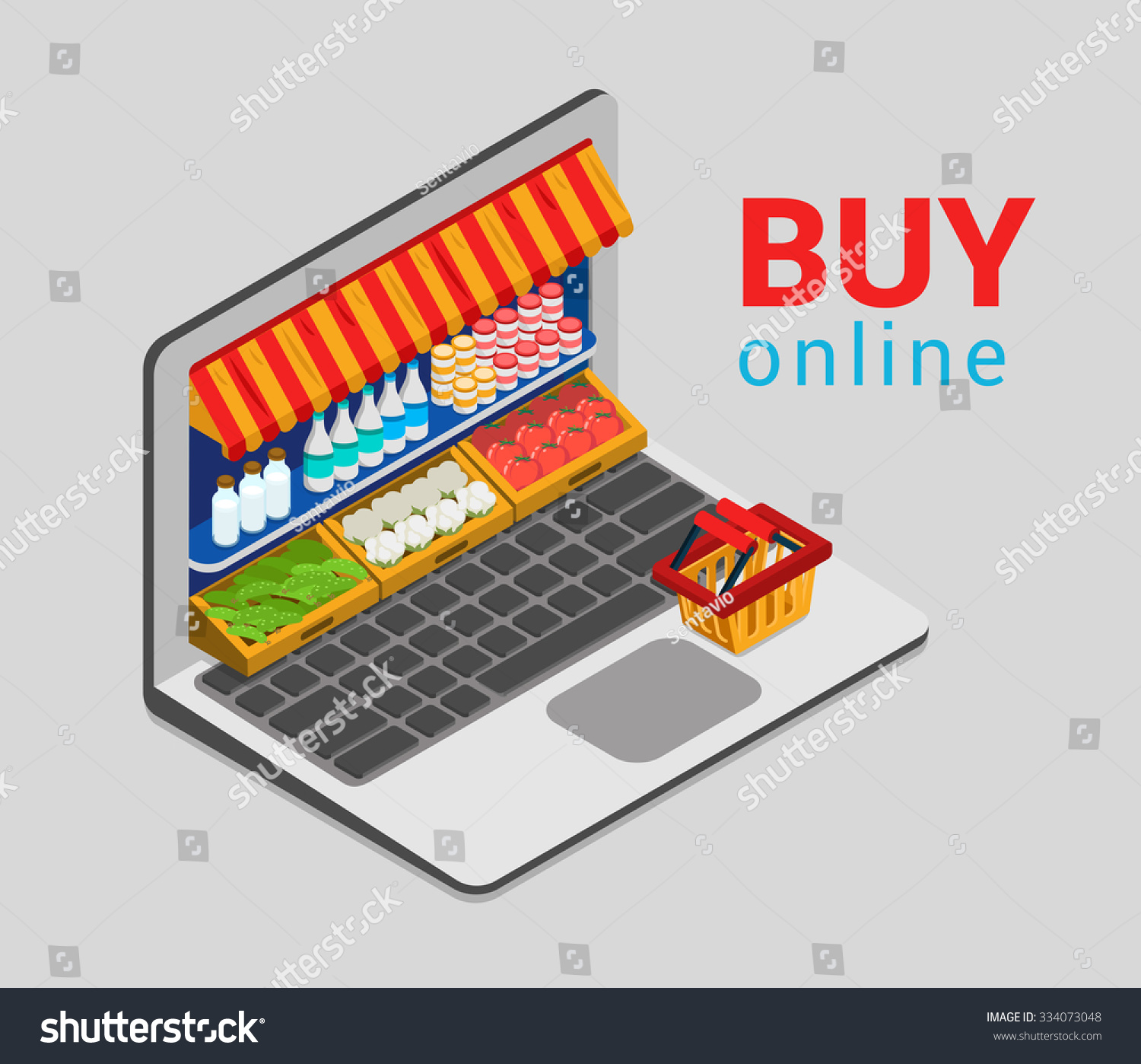 laptop buy online grocery shopping ecommerce stock vector. Black Bedroom Furniture Sets. Home Design Ideas